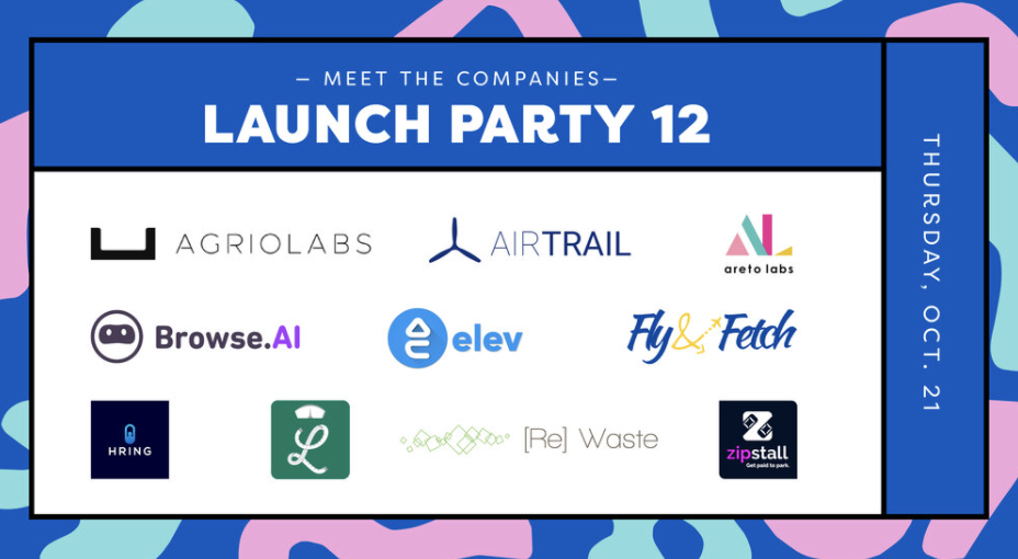 An array of logos from the 10 companies featured at Launch Party 12