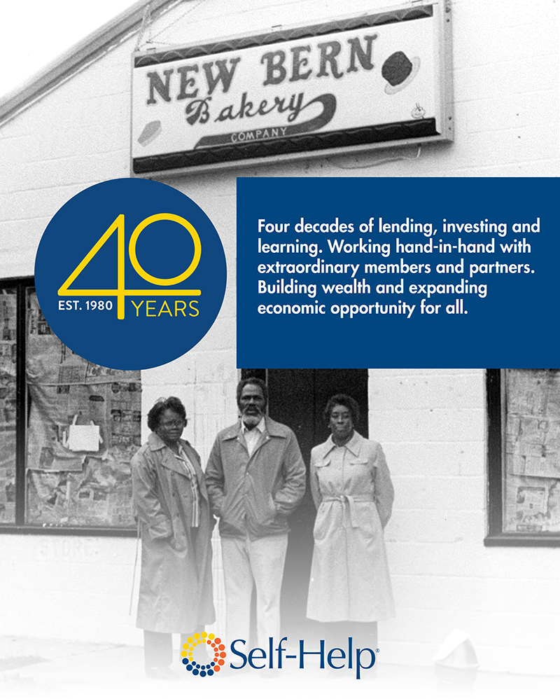 Self-Help's 40th anniversary poster, depicting its first project with the New Bern, NC bakery