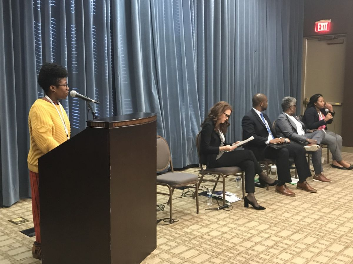 A panel during the Fines and Fees conference at Bennett College