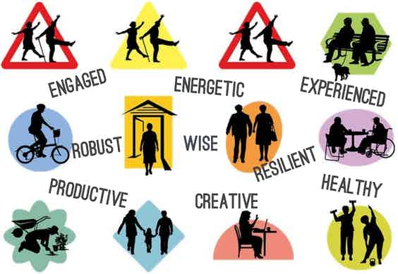 Symbols of seniors with words:  engaged, energetic, experienced robust, wise, resilient, productive, creative, healthy