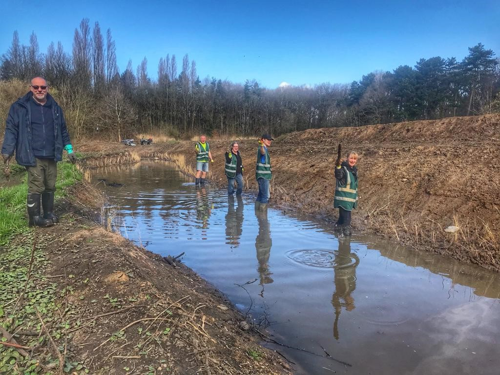 Croxteth Park Volunteers helping with reed planting at the newly created wetland