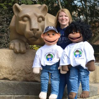 Incredible Years puppets at the Nittany Lion Statue
