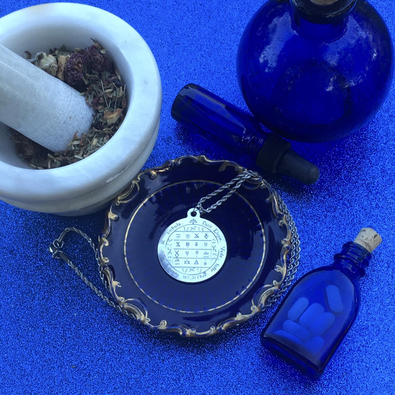 Jupiter health pentacle against a blue background