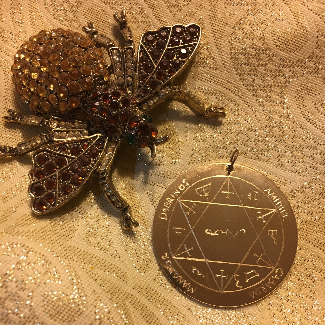Solar health pentacle against a gold background