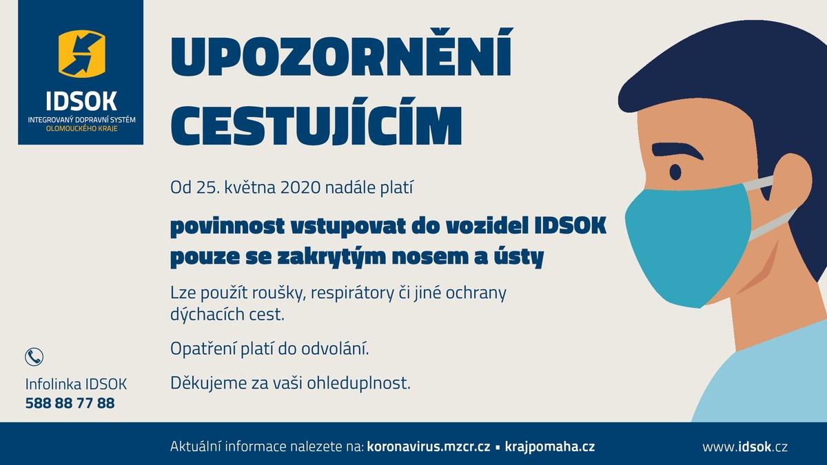 Ve vozidlech IDSOK jsou roušky nadále povinné