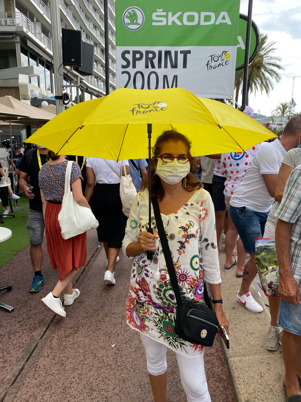 Adrian with Her Yellow Tour de France Umbrella