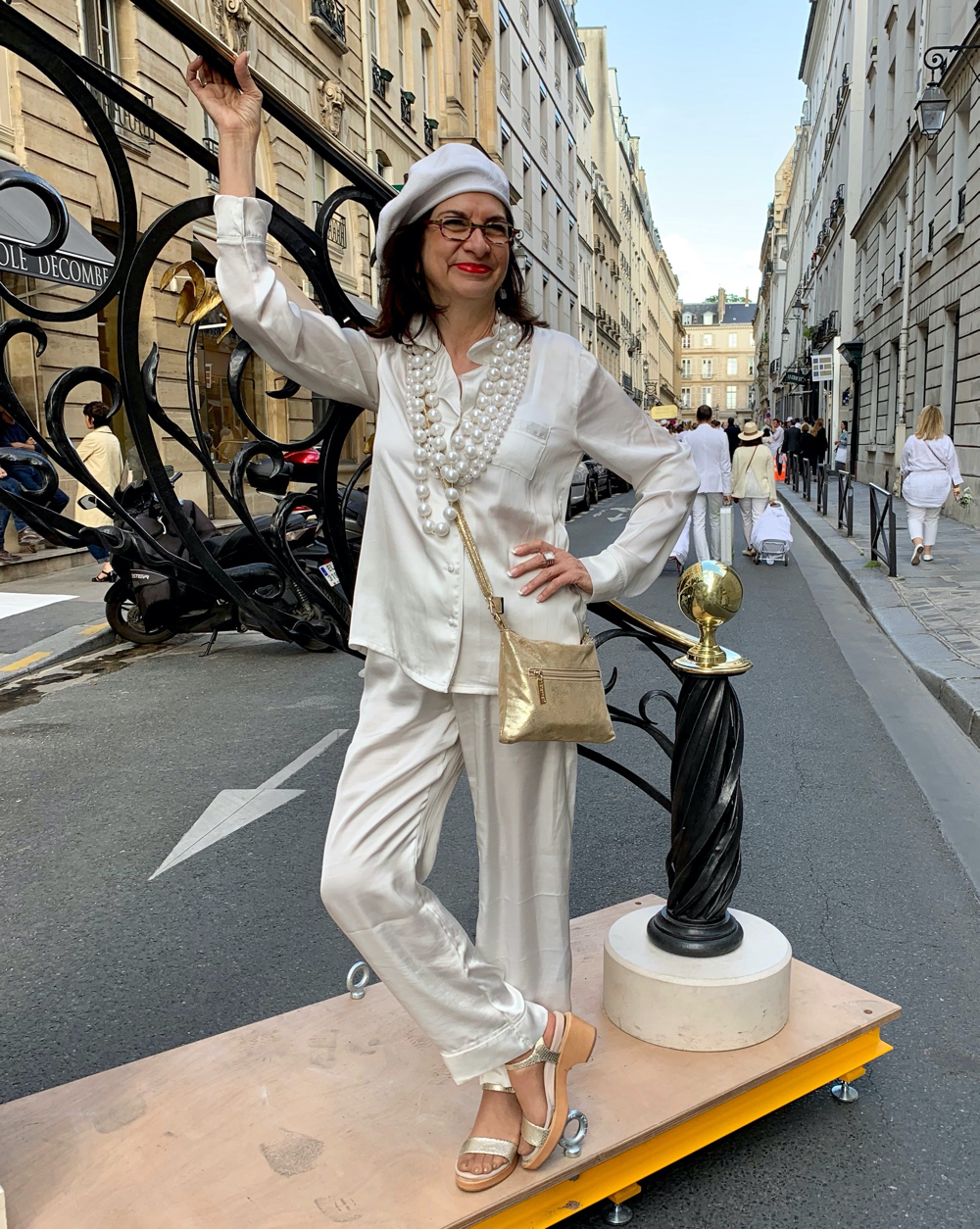 Adrian in White Silk Pajamas, Diner en Blanc, 2019