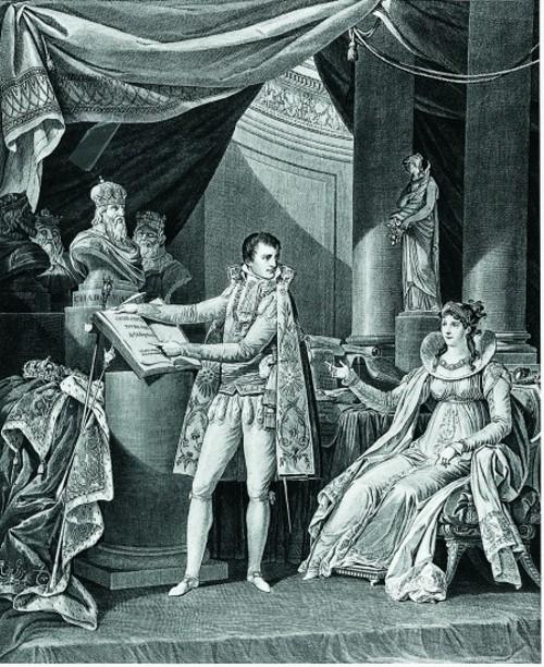 Napoleon Bonaparte presents le Code Civil to Josephine