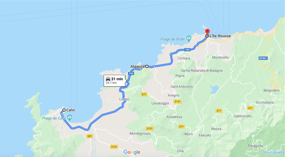 The Route from Ile Rousse to Calvi