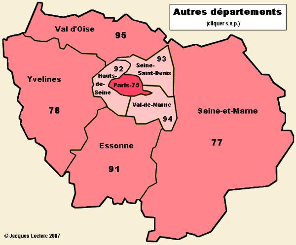 Ile de France Departments
