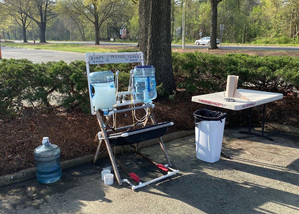 Handwashing station at market