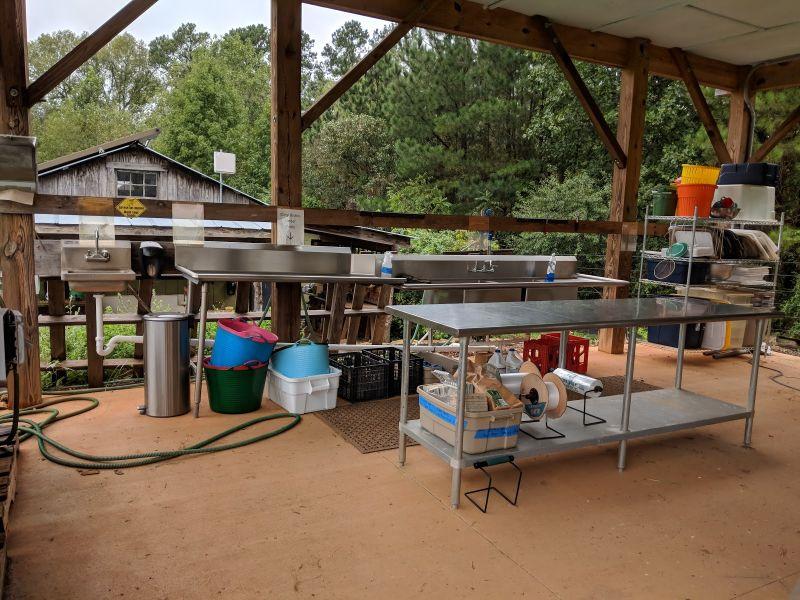 Post-Harvest Station at Central Carolina Community College Student Farm (a CFSA member)