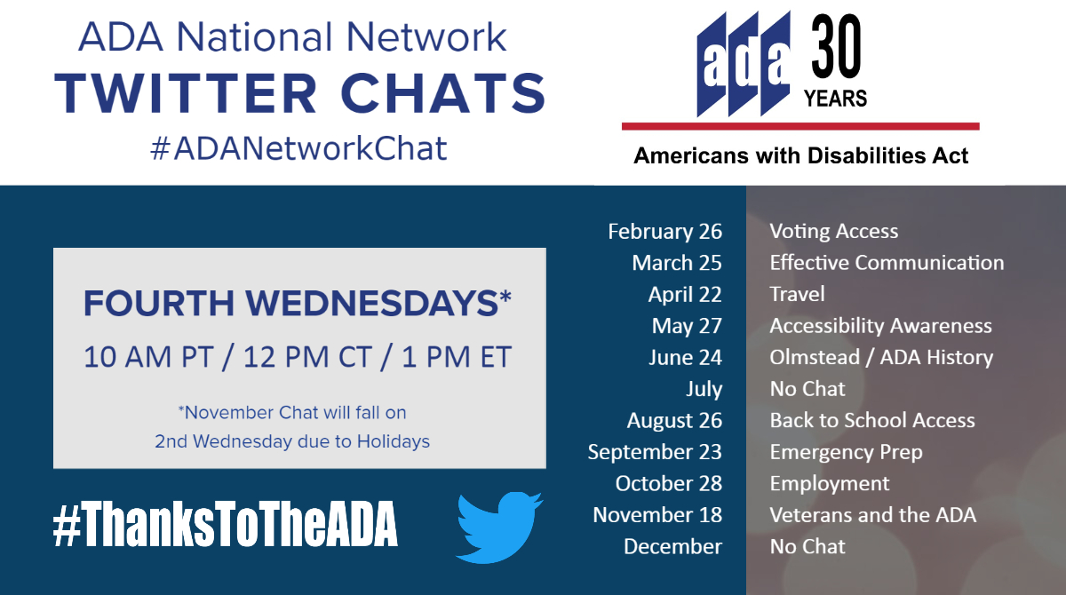 Twitter chat announcement image with a list of the upcoming twitter chats through November 2020.