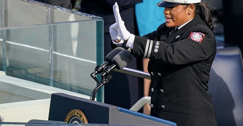 A sign language interpreter working during the Presidential Inauguration