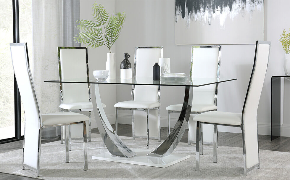 Peake Glass and Chrome Dining Table (White Gloss Base) with 6 Celeste White Leather Chairs