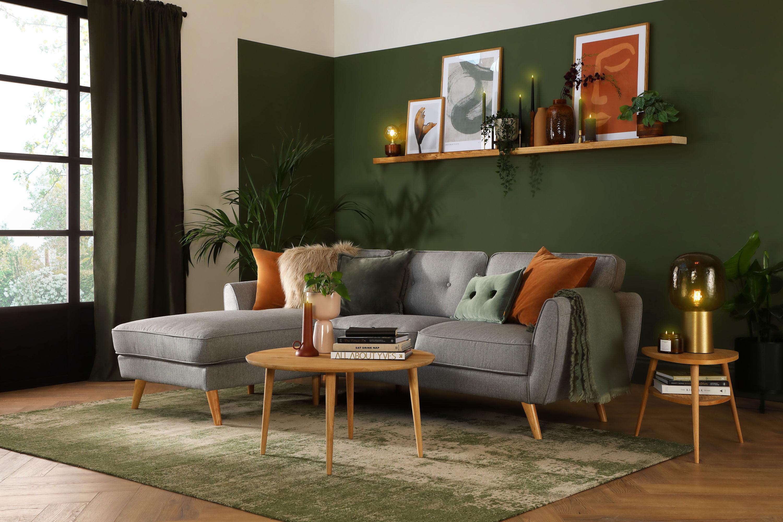 Harlow Grey Velvet L Shape Corner Sofa - LHF