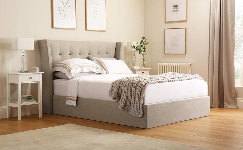 Kenley Oatmeal Fabric Ottoman Double Bed