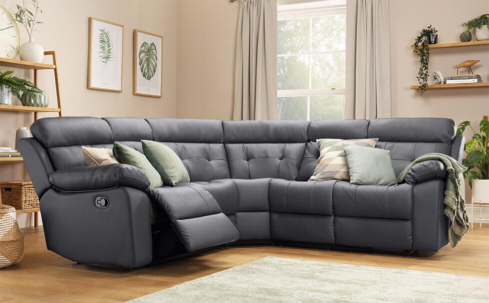 Grosvenor Grey Leather Recliner Corner Sofa