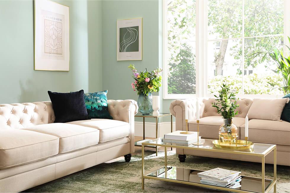 Hampton Oatmeal Fabric 3+2 Seater Chesterfield Sofa Set