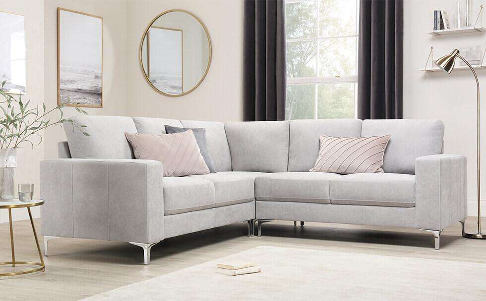 Baltimore Dove Grey Plush Fabric Corner Sofa