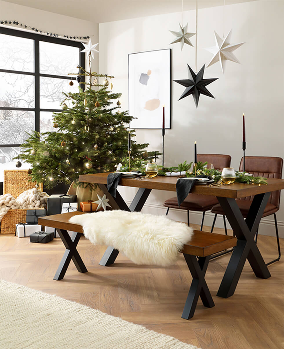 Franklin Industrial Oak Dining Table and Bench with 2 Flint Tan Leather Chairs