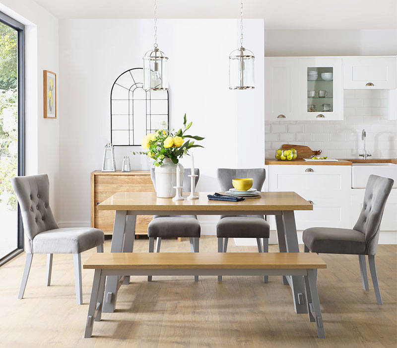 Croft Painted Grey and Oak Dining Table and Bench with 4 Bewley Grey Velvet Chairs