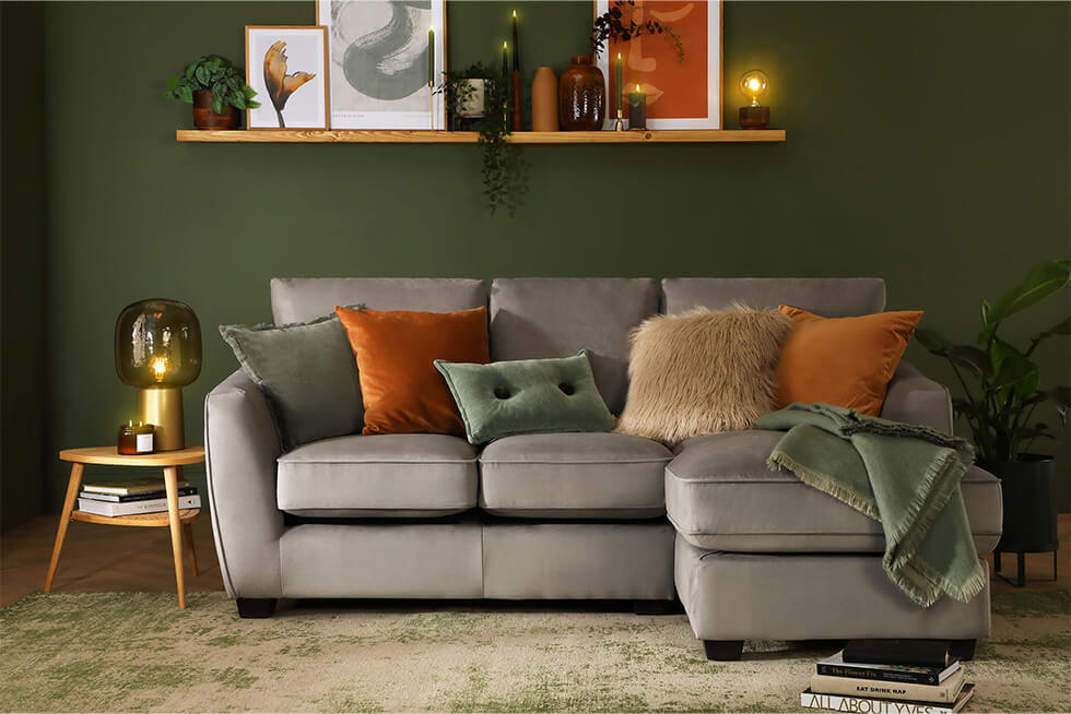 Claremont Grey Velvet L Shape Corner Sofa RHF