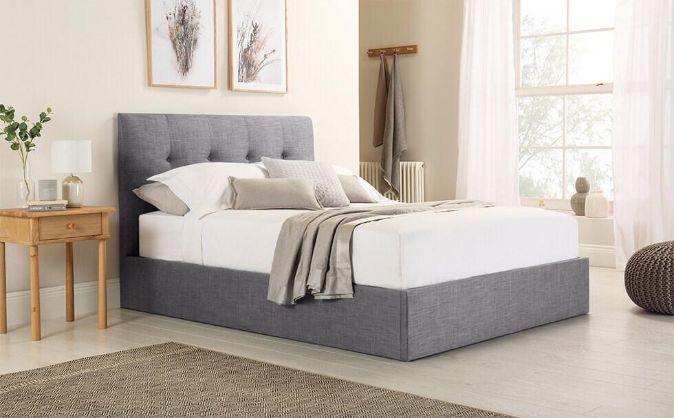 Caversham Grey Fabric Ottoman Double Bed