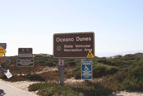 Signs at front entrance of Oceano State Vehicular Recreation Area