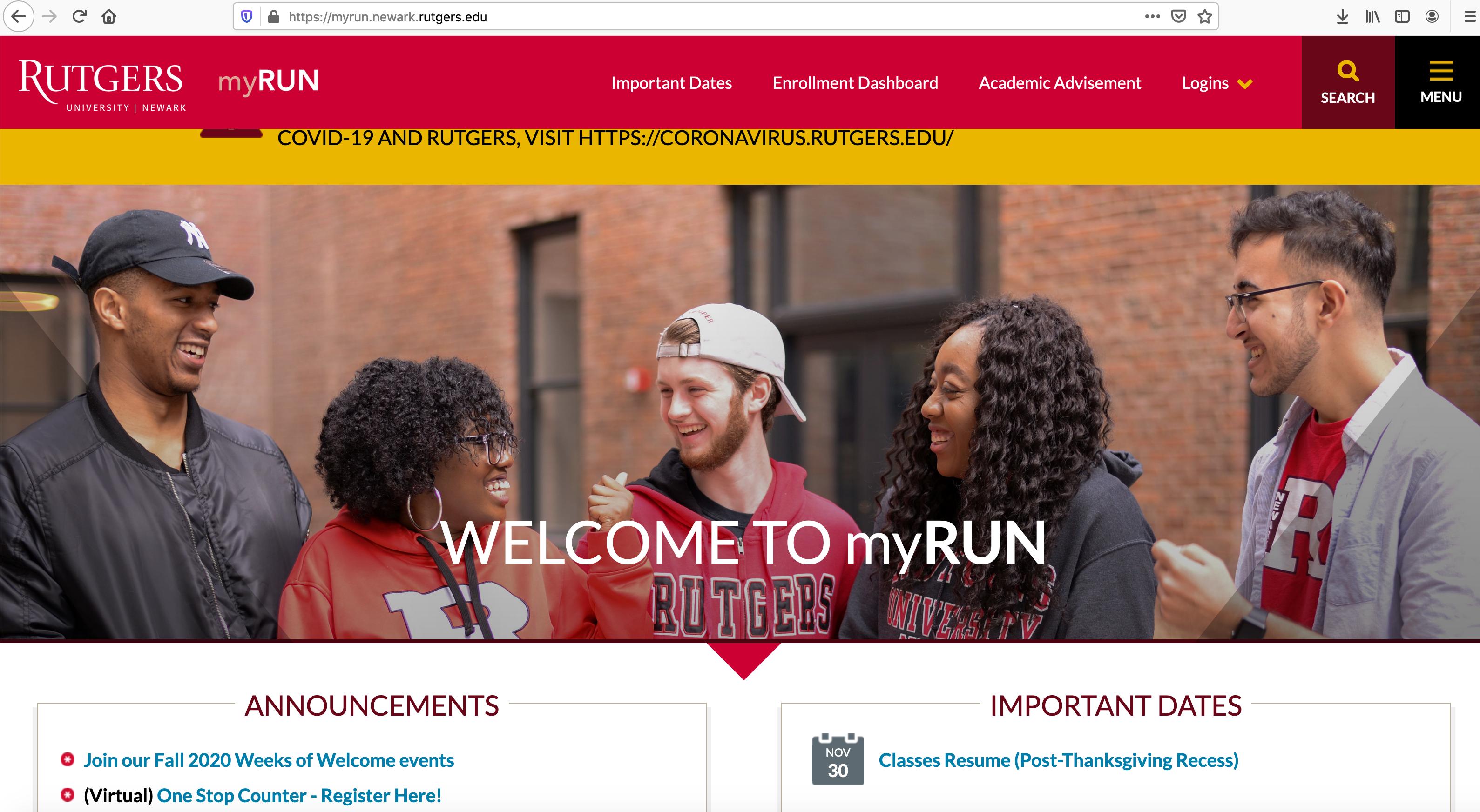 Rutgers Newark MYRUN Website Screenshot 2020