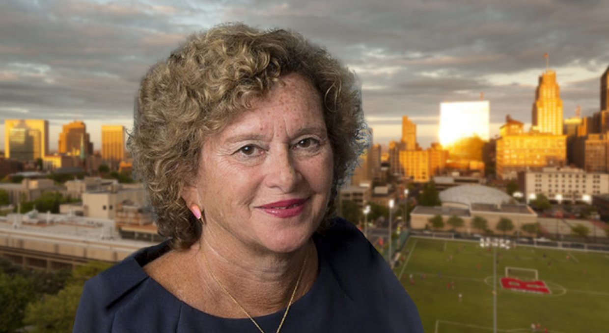 Rutgers Newark Chancellor Nancy Cantor headshot with campus backdrop