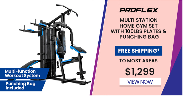 Multi Station Home Gym Set with 100lbs Plates & Punching Bag