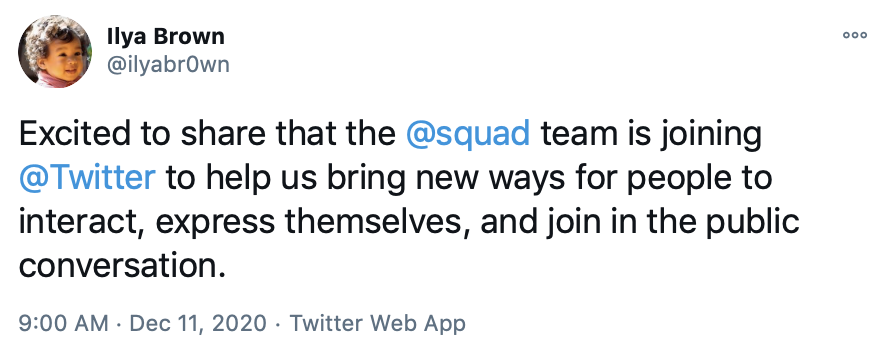 Tweet from Ilya Brown about Squad acquisition