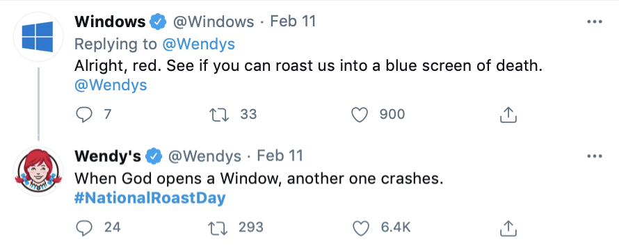 Wendy's response to Windows on #NationalRoastDay