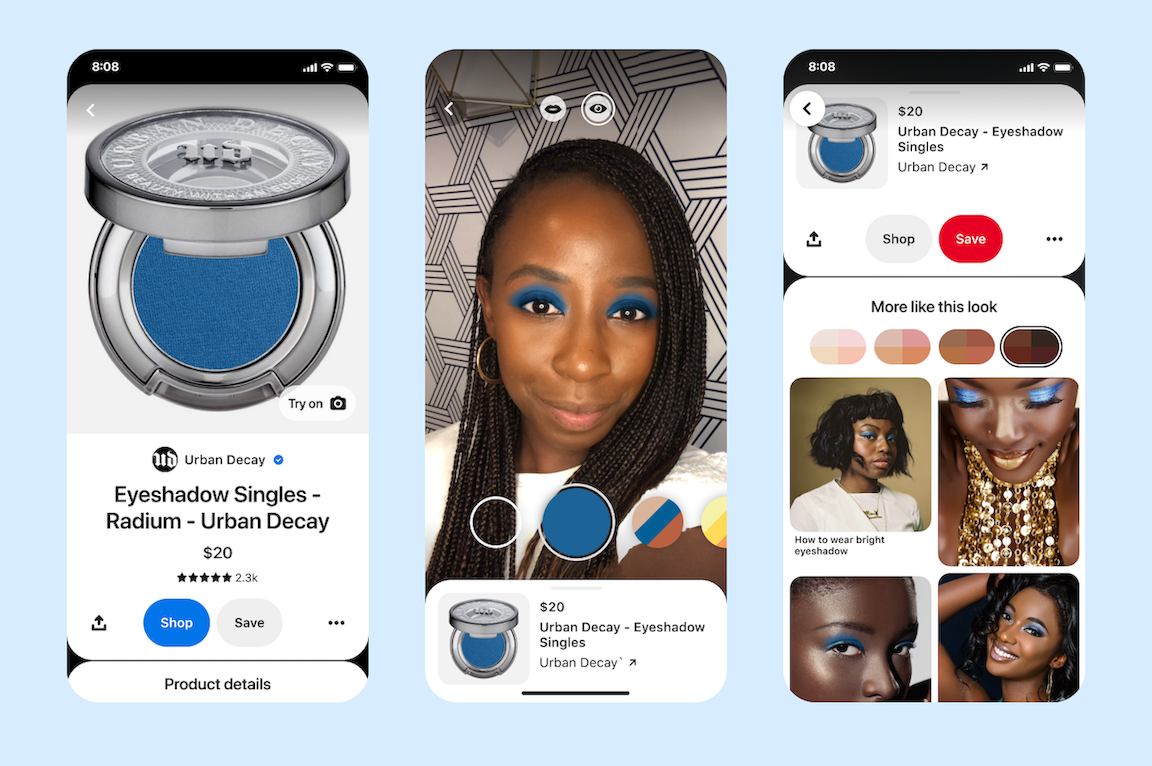 Pinterest introduces AR Try on for eyeshadow and more ways to shop products in Pins