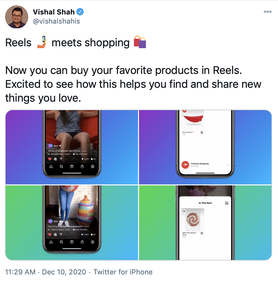 Twitter by Vishal Shah about shopping on Reels