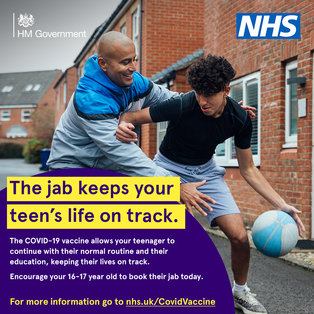 Encourage your 16-17 year old to book their jab today.