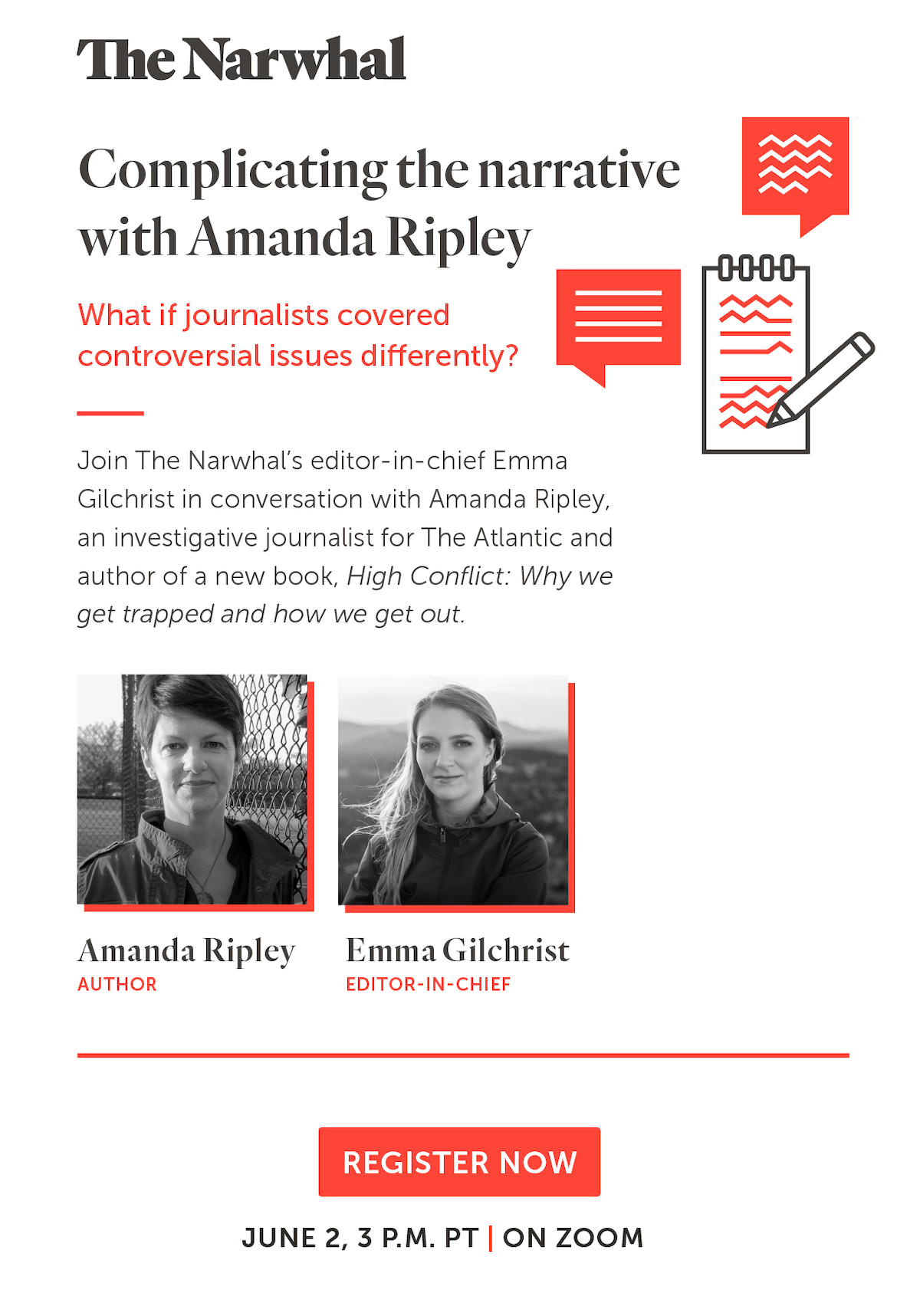 Complicating the narrative with Amanda Ripley: What if journalists covered controversial issues differently?  A Narwhal Zoom event on June 2 at 3 p.m. PT