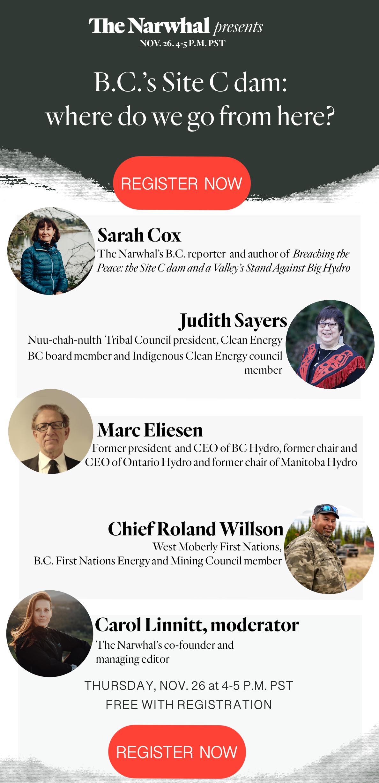 Narwhal Site C dam event invite. Panelists: Sarah Cox, Judith Sayers, Marc Eliesen, Chief Roland Willson, Carol Linnitt