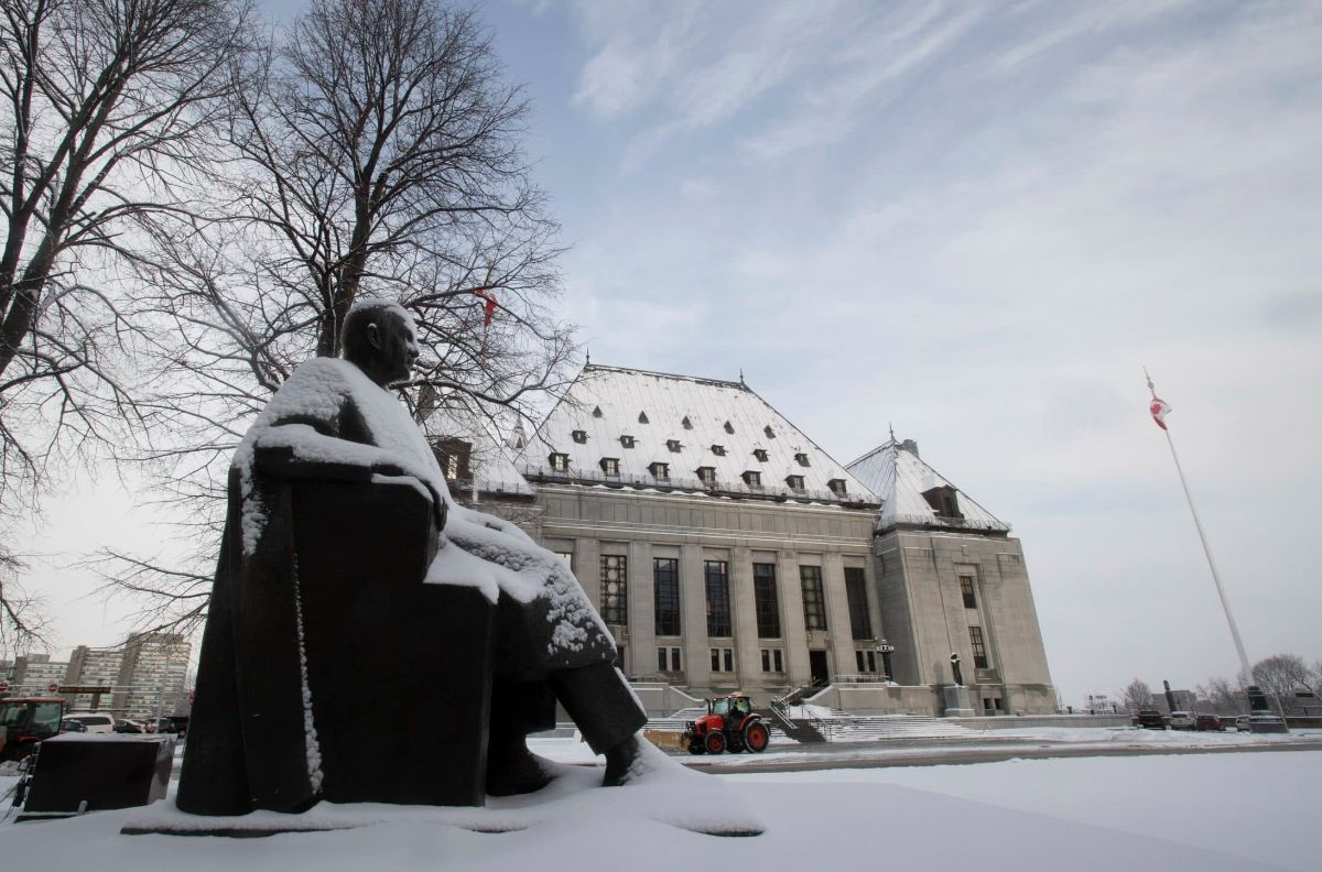 The view outside the Supreme Court of Canada on a snowy day.