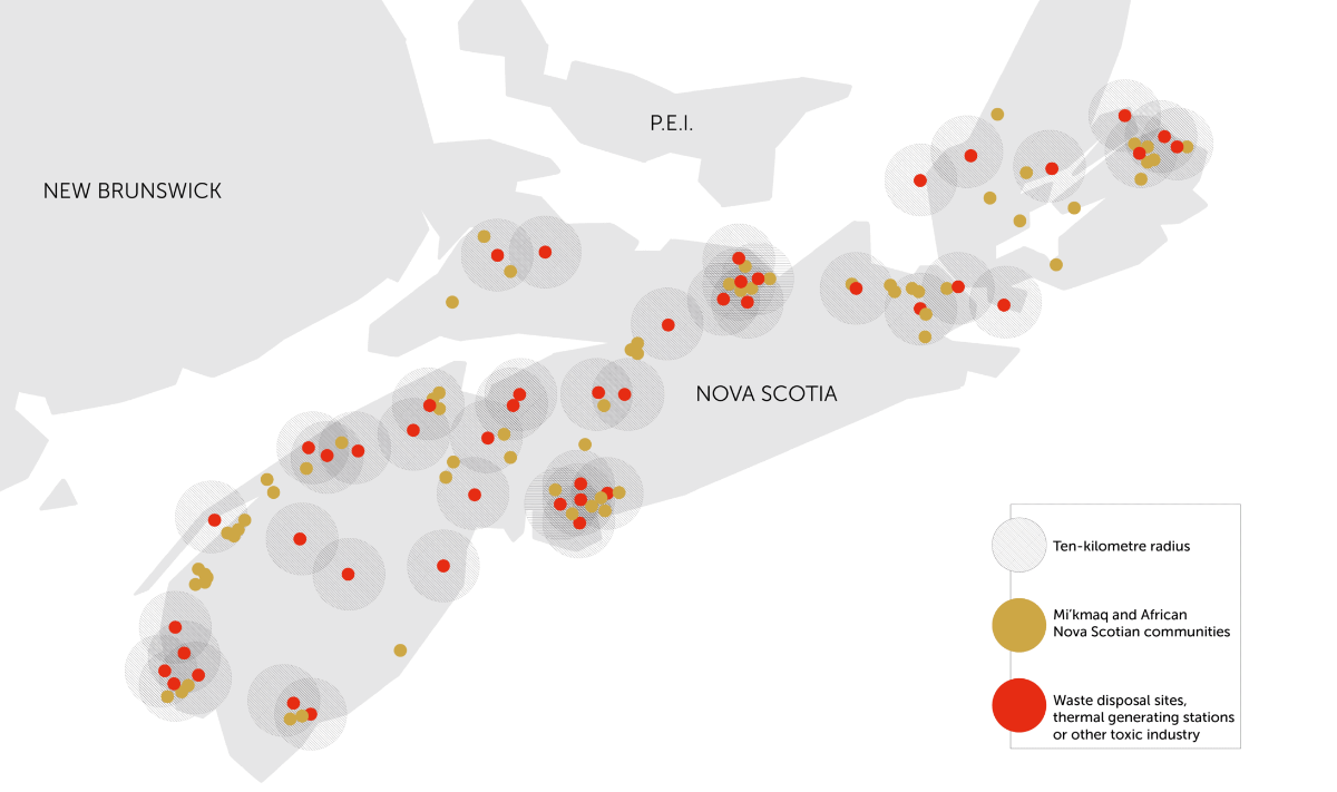 Map showing overlap of polluting industries and racialized communiti in Nova Scotia
