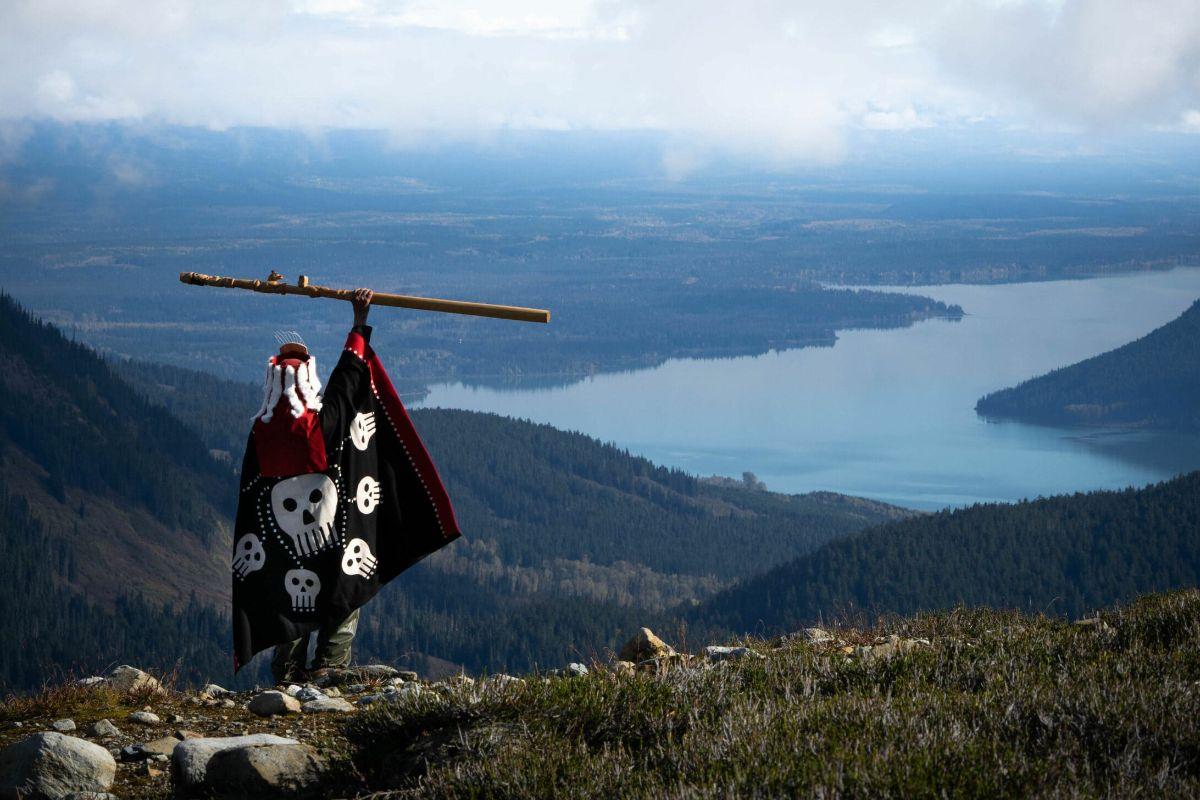 Chief Wii Litsxw (Gregory Rush) hiking in Gitanyow territory.
