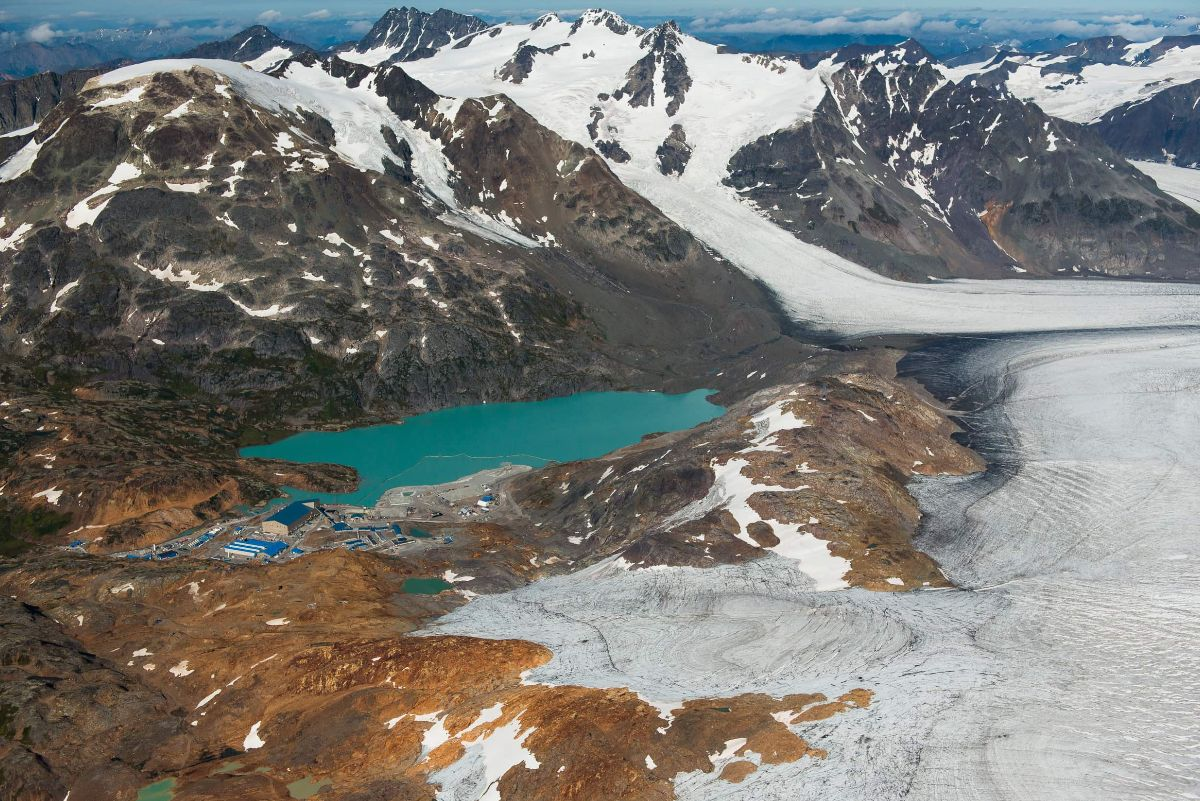 brucejack mine surrounded by glaciers