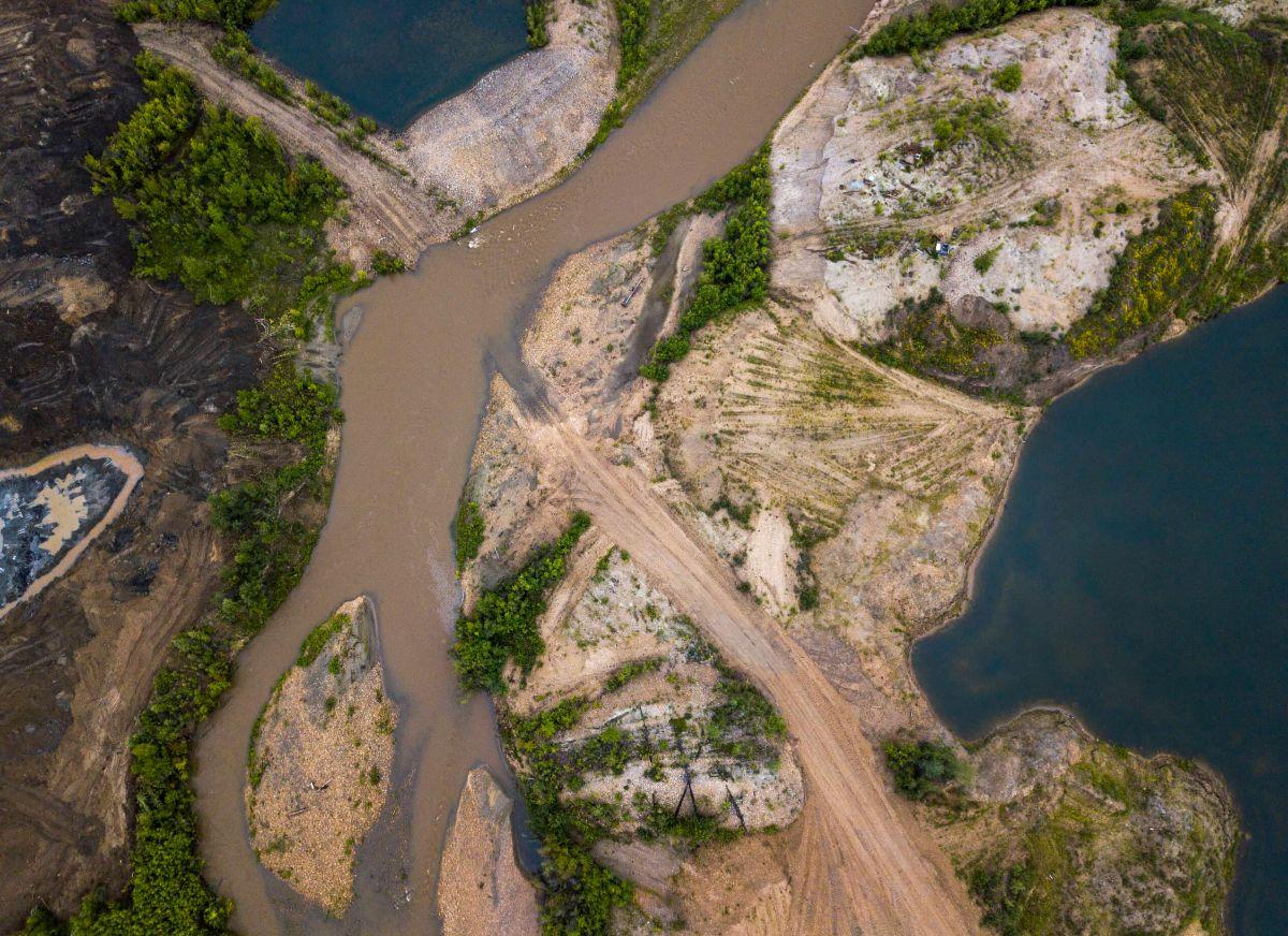 Placer mining activity along Indian River near Quartz Creek in Yukon