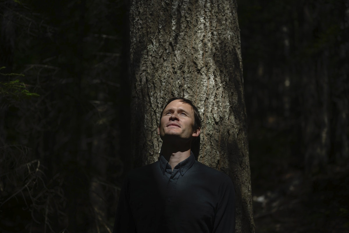 Daimen Hardie, co-founder of Community Forests International, leans on an aspen tree in the Acadian forest