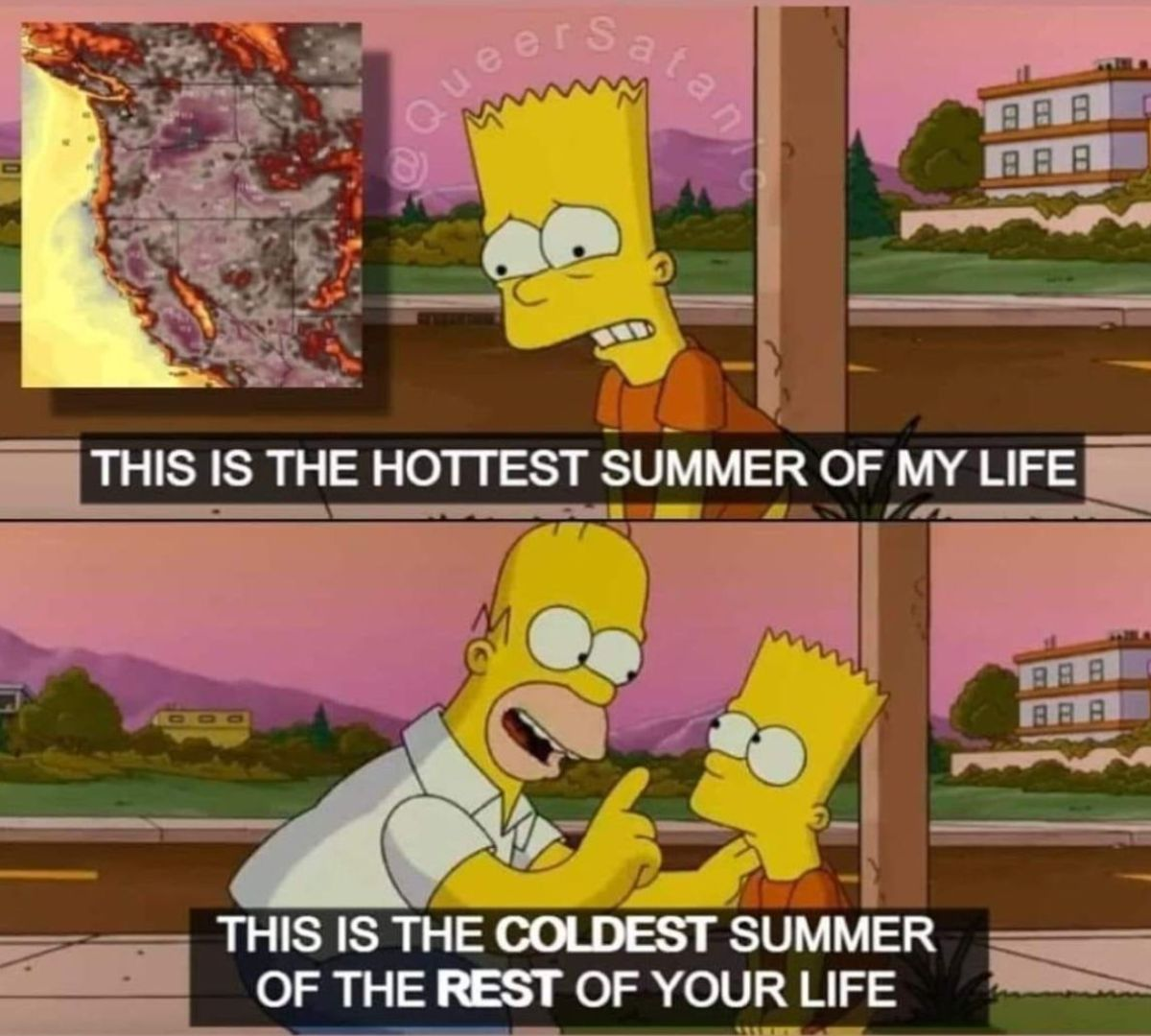 The Simpsons meme: Homer and Bart chatting heat wave