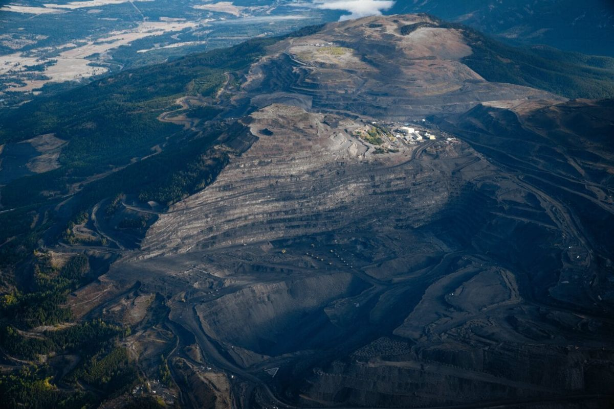 aerial shot of mountaintop-removal