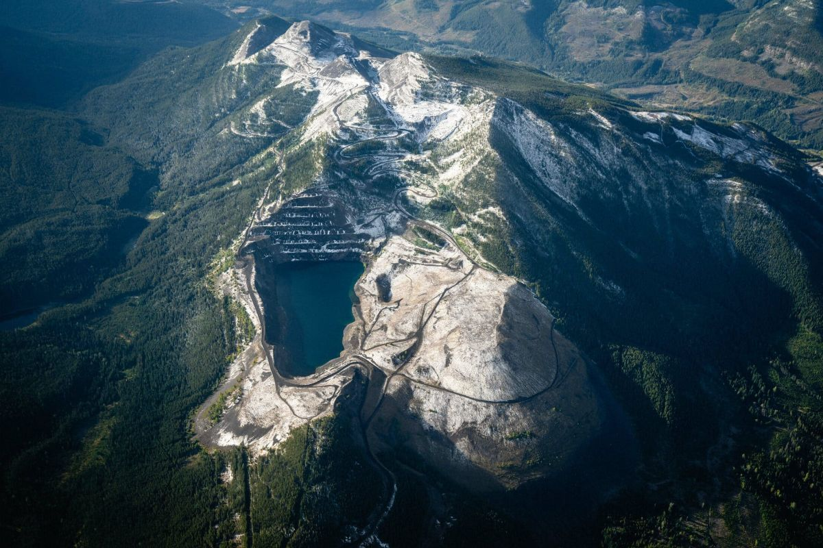Aerial view of mountaintop mining in B.C.'s Elk Valley