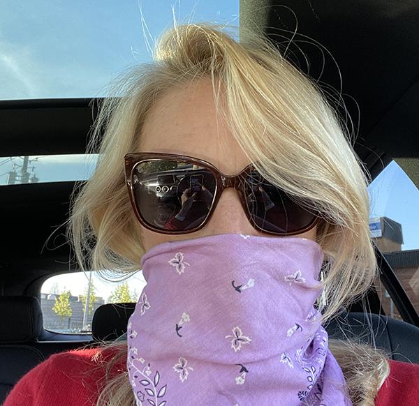 Kim in her bandanna mask
