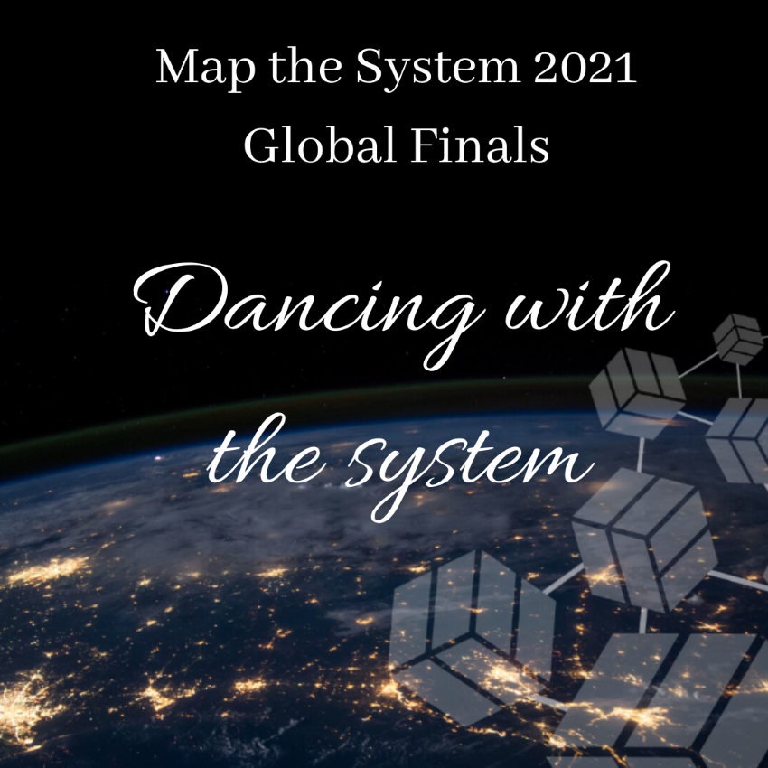 """White text on a black background with a view of earth from space reading """"Dancing with the System"""""""